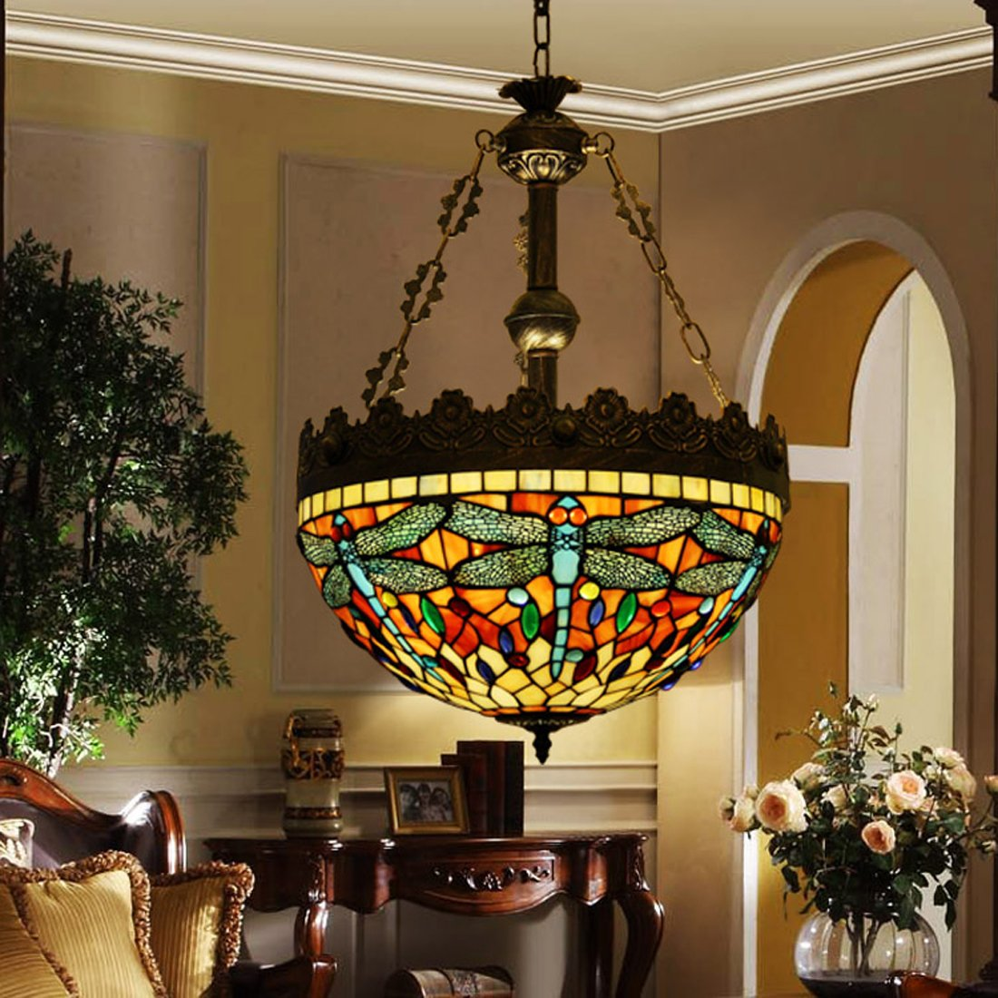 tiffany style pendant light fixture. Makenier Vintage Tiffany Style Stained Glass Dragonfly Inverted Ceiling Pendant Lamp Fixture, 16 Inches Lampshade - Amazon.com Light Fixture I