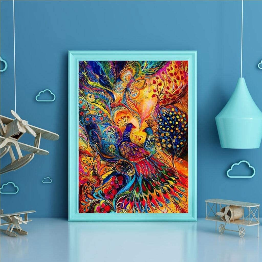 uBabamama DIY Embroidery Cross Stitch Rhinestone Pasted DIY Painting,Angel Butterflies,30 * 40 cm Peacock A 5D Diamond Art Full Drill Painting Kits