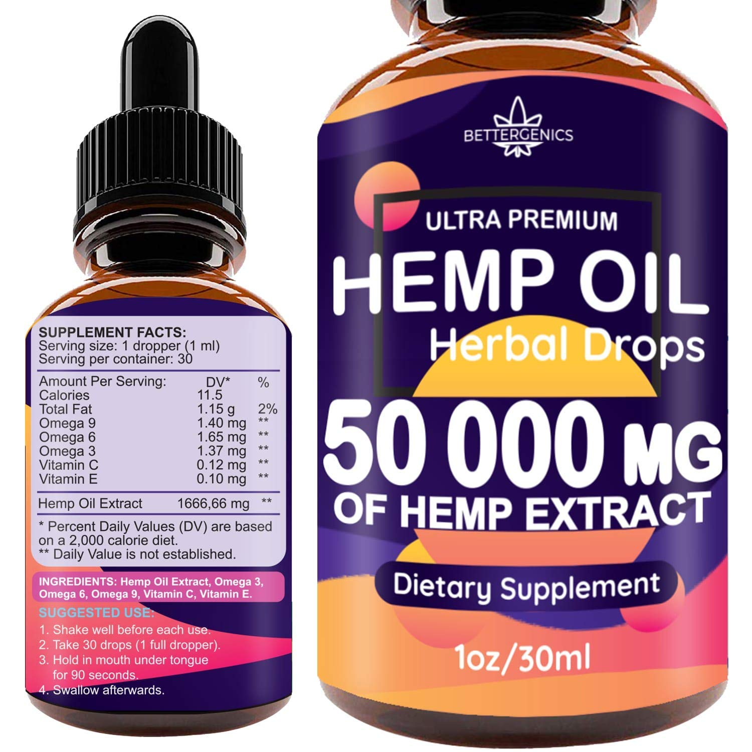 Hemp Oil Drops 50 000 mg, Co2 Extracted, Help Cope With Stress, Anxiety and Pain, 100% Natural Ingredients, Vegan Friendly, GMO Free, Made in USA by Hemp-Health