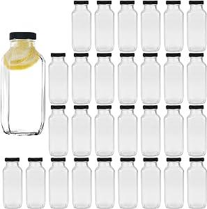 8 oz Glass Bottles,Reusable Glass Water Bottles With Airtight Lids,Vintage Drinking Bottles for Smoothies,Kombucha,Tea,Juicing Bottles Beverage Bottle Milk Bottles With Caps,Liquid Storage Jars 30pack …