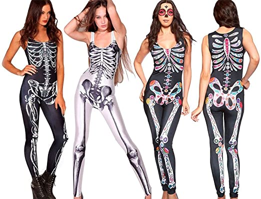 099fd55cdb8d Ladies Skeleton Bone Punk Sexy Romper Jumpsuit Skeleton Bodysuit Fancy Dress   Amazon.co.uk  Clothing