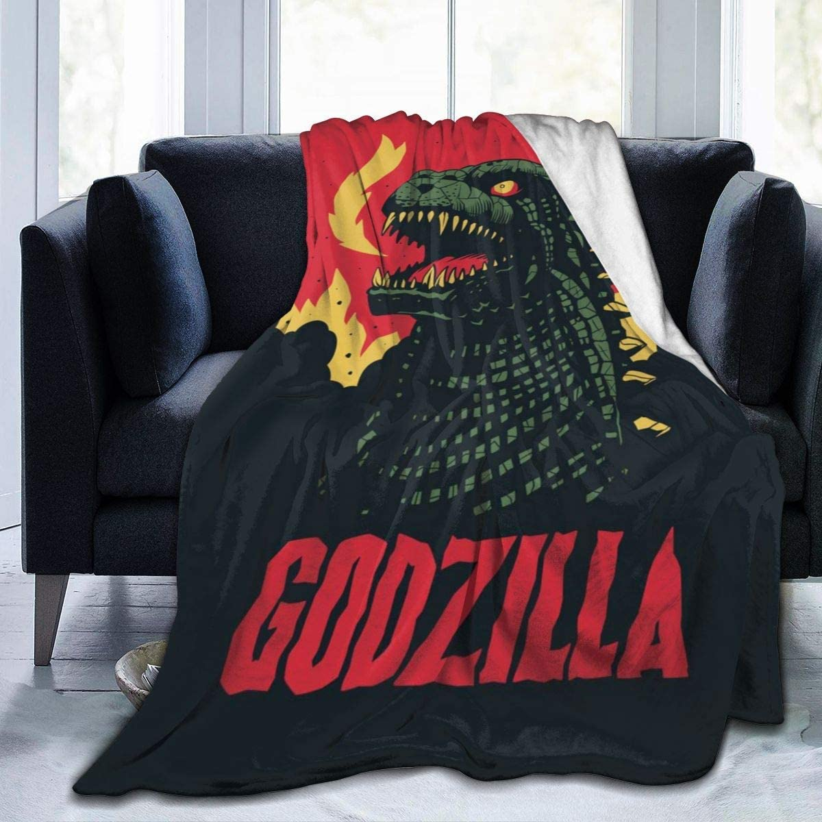 BLANKNTC Mantas de Cama de vellón 3D, pósters clásicos de Monstruos de Godzilla de Anime Mantas navideñas, Manta de Juego súper Suave y Liviana para Preescolar de Oficina para Adultos S