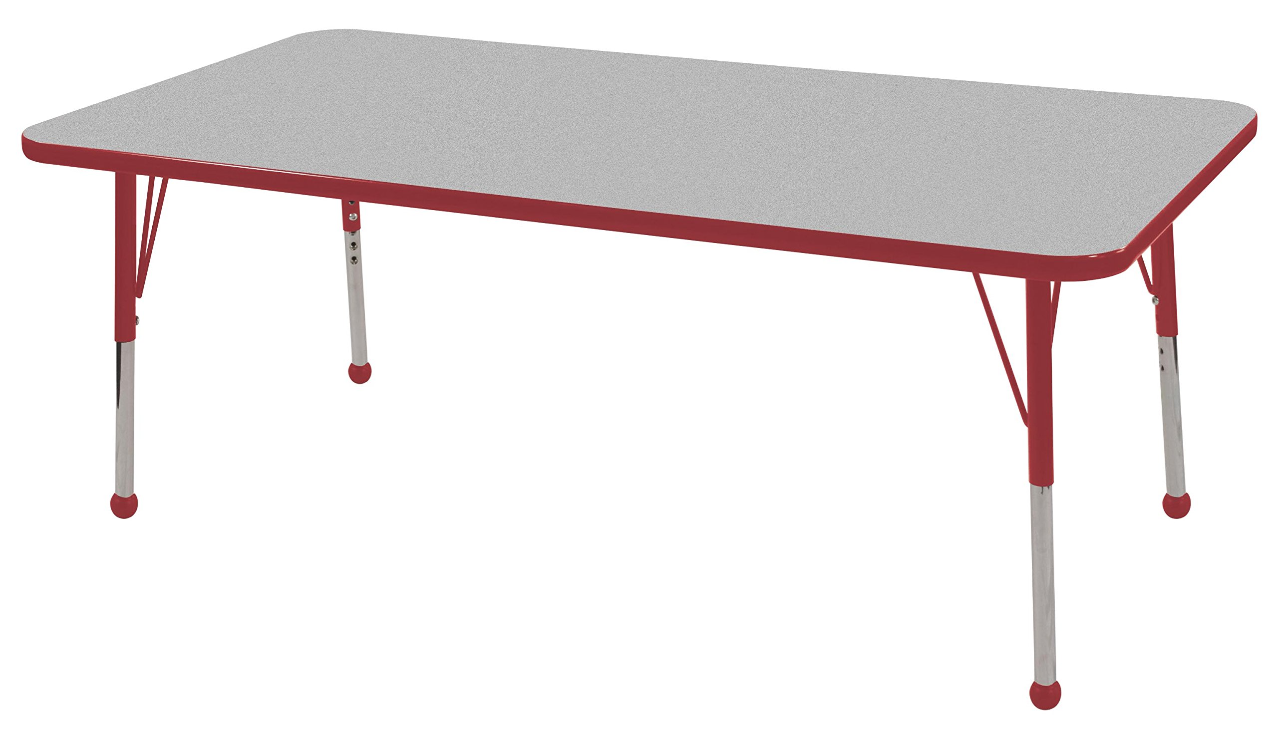ECR4Kids Mesa Thermo-fused 30'' x 60'' Rectangular School Activity Table, Standard Legs w/ Ball Glides, Adjustable Height 19-30 inch (Grey/Red) by ECR4Kids