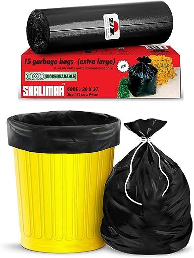 Shalimar Premium OXO - Biodegradable Garbage Bags (Extra Large) Size 76 cm x 94 cm 6 Rolls (90 Bags) ( Dustbin Bag / Trash Bag ) ( Black Colour )