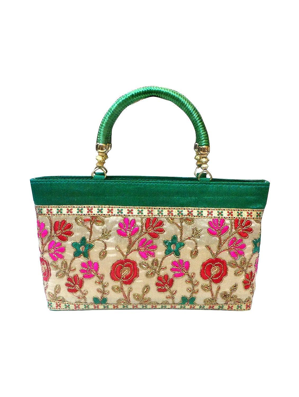 Bhamini Green Floral Glory Raw Silk Hand Bag