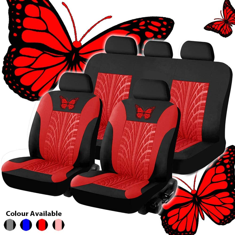 Red Universal Butterfly Pattern Embroidery Auto Seat Cover Set Carrfan Car Seat Cover Full Set