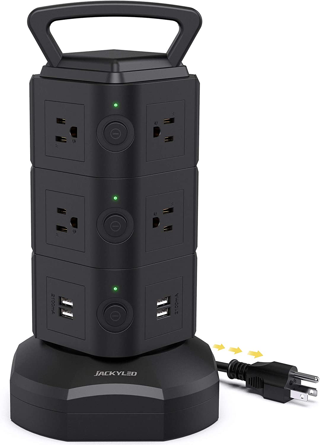 9.8ft Power Strip Tower JACKYLED Surge Protector Electric Charging Station with 13A 10 AC 4 USB Ports Heavy Duty Extension Cord for Home Office Computer Nightstand Laptop Phone Black