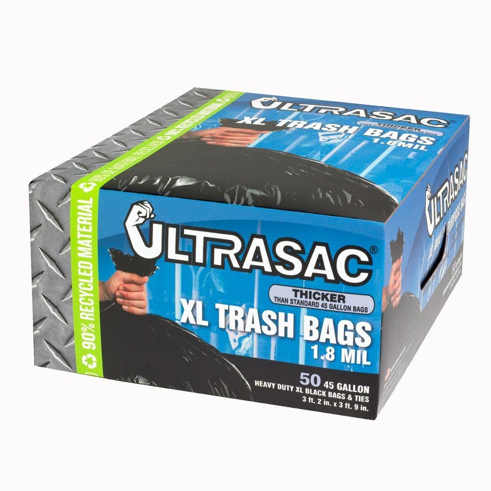 (50 Count) Of 45 Gal. Heavy Duty Extra Large Trash Bags By ULTRASAC, Thicker Than Standard 45 Gallon Bag (1.8 MIL Thick)