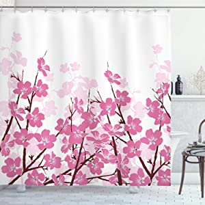 "Ambesonne Asian Shower Curtain, Japanese Cherry Blossoms Sakura with Branches Spring Flower Garden Illustration, Cloth Fabric Bathroom Decor Set with Hooks, 70"" Long, White Pink"