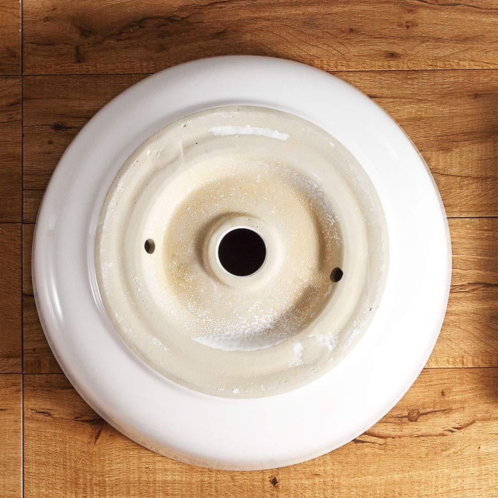 ohne Wasserhahn HomeLava Runde Keramik Aufsatzwaschbecken Wei/ß K/örper Schwarz Randstreifen mit Ventil Ablauf Bad G/äste WC