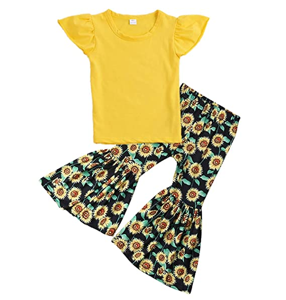 0f0cb454481 3Pcs Toddler Baby Girl Clothes Long Sleeve Blue Top Shirt Sunflower Pants  with Floral Headband Outfit