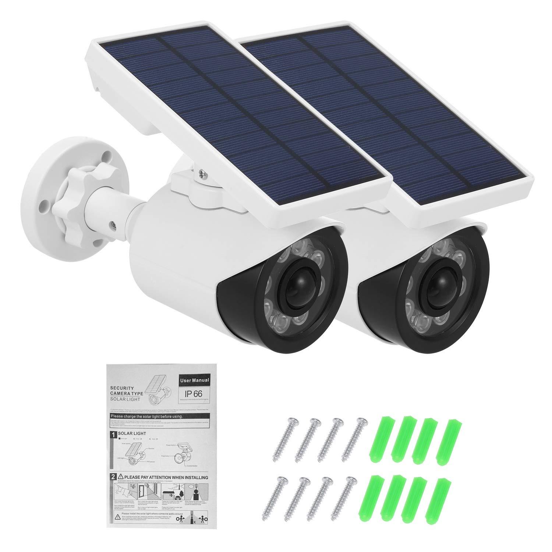 LBBZJM Dummy CCTV Camera Dummy Camera with PIR Motion Sensor Solar LED Light Dummy Security Camera IP66 Waterproof Outdoor CCTV Fake Surveillance Simulation Camera (Color : 2pcs) by LBBZJM
