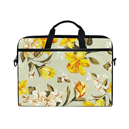 0ae41296eac6 JIUMEI Computer Bag Briefcase for 15 to 15.4 Inch Laptop Yellow And White  Flowers Blossom Fine