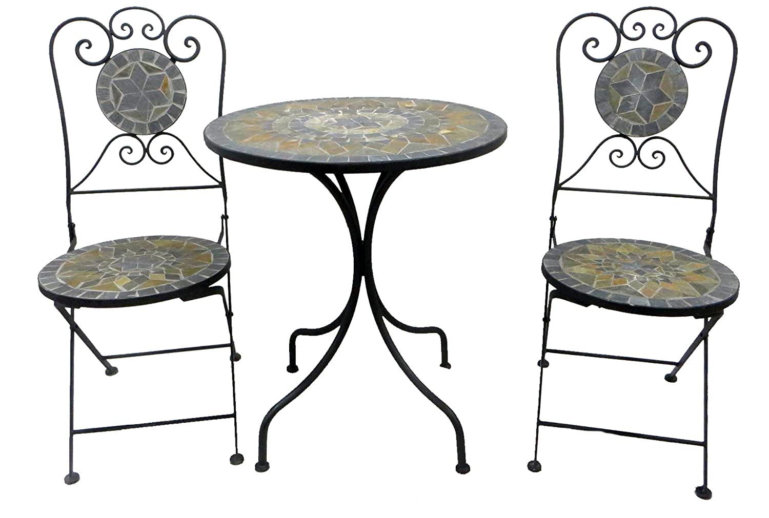 garten m bel eisen bistro set garten garnitur mosaik sitzgruppe eisen m bel 2 st hle 1 tisch. Black Bedroom Furniture Sets. Home Design Ideas