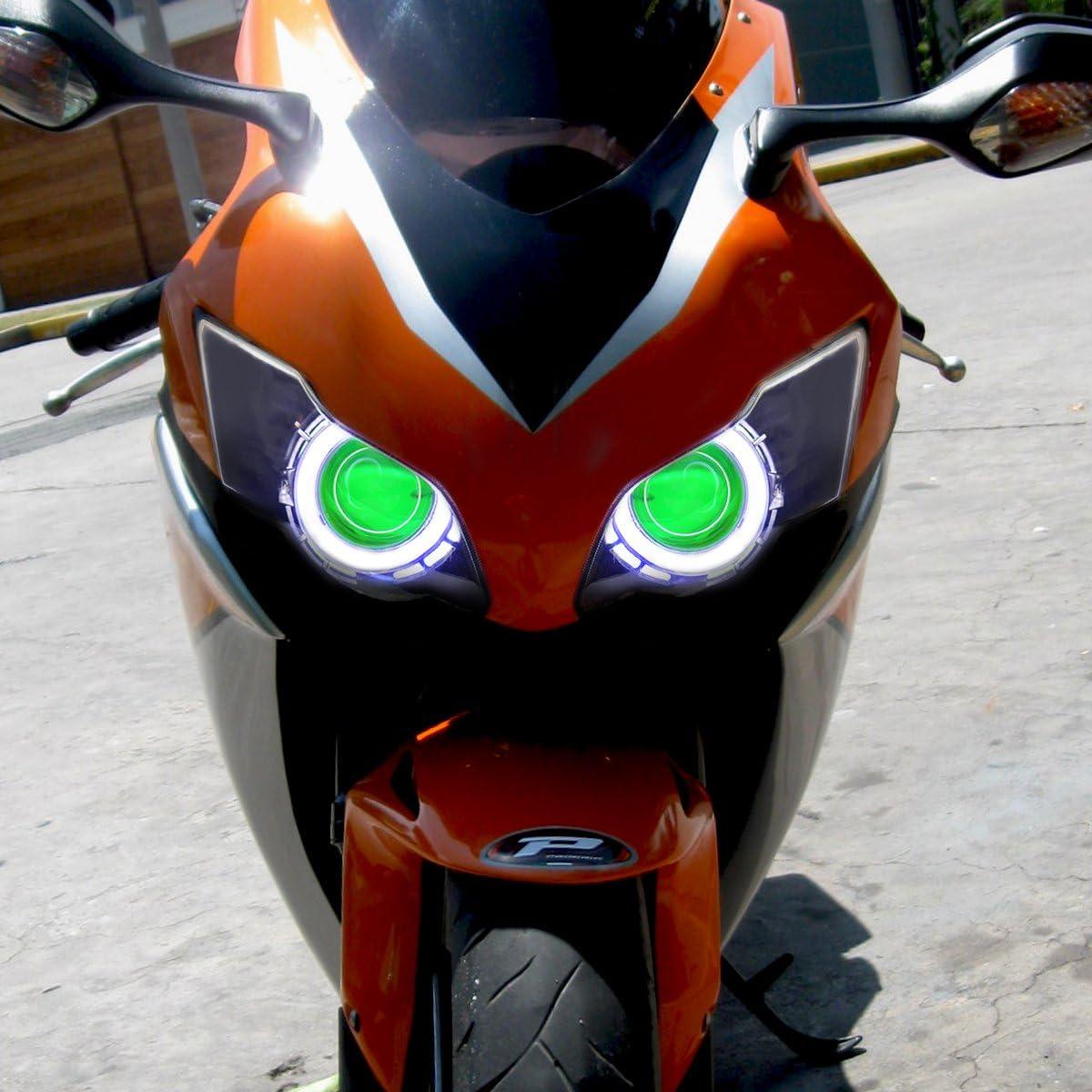 KT LED Angel Eye Headlight Assembly for Honda CBR1000RR 2008-2011 V1 Red Demon Eye