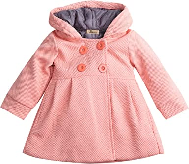 KIDS TALES Baby Girls Hooded Warm Wool Cotton Jacket Trench Coat Outwear