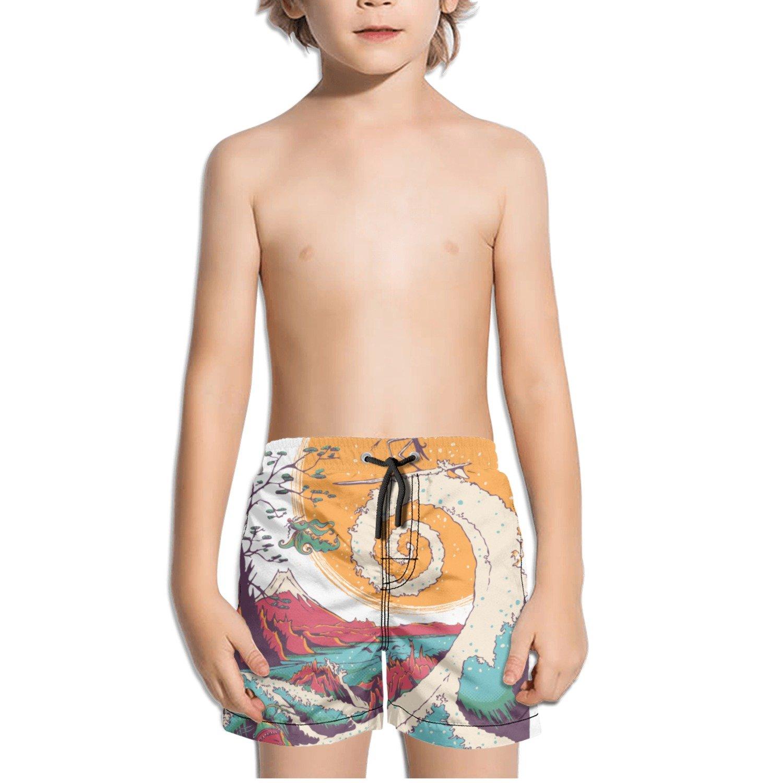 TylerLiu Surfing Skeleton Funny Kids Boy's Fast Drying Beach Swim Trunks Pants