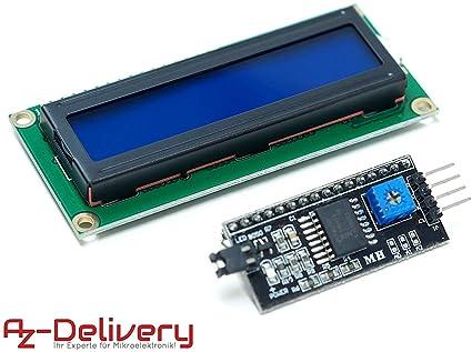 AZDelivery HD44780 1602 LCD Módulo azul Pantalla Bundle con ...