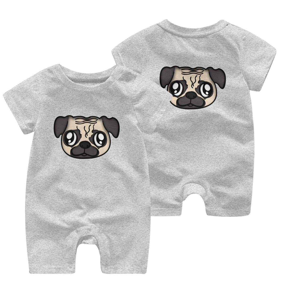 UGFGF/&3 Pug Puppy Dog Face Baby Boy Short Sleeve Romper Jumpsuit Kid Pajamas 0-24 Months