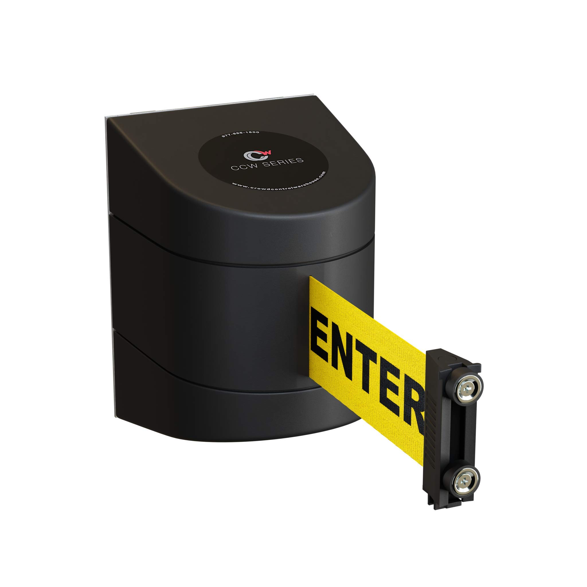 Magnetic Wall Mount Retractable Belt Barrier with ABS Case-CCW Series WMB-230 (30 Foot, Caution Do Not Enter Belt with Black ABS Case) by Crowd Control Warehouse