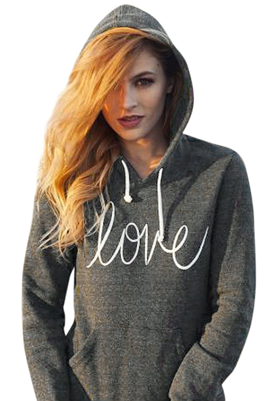 Sevozimda Women Casual Hoodie Tunic Letter Print Sweatshirt Pull Over