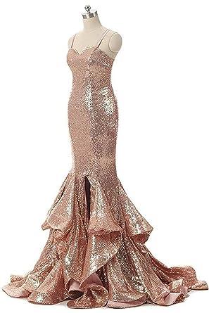 Amazon Marsen Womens Sexy Sequins Slit Prom Dress Long Mermaid