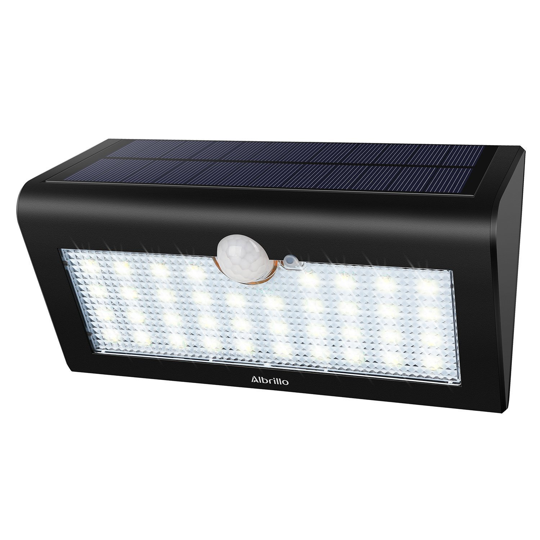 Albrillo LED Solarleuchten mit Bewegungsmelder - Superhelle 3 Modi Solarlampe mit 38 LEDs, IP65 Wasserdichte Außenlampen Solar Wandleuchte für Gärten, Türe, Flur, Auffahrt[Energieklasse A++] [Energieklasse A++] Türe LL-SL-G009