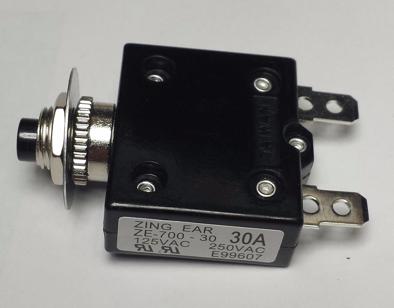 2 Carling Brand Push to Reset Panel Mount 20 amp Circuit Breakers