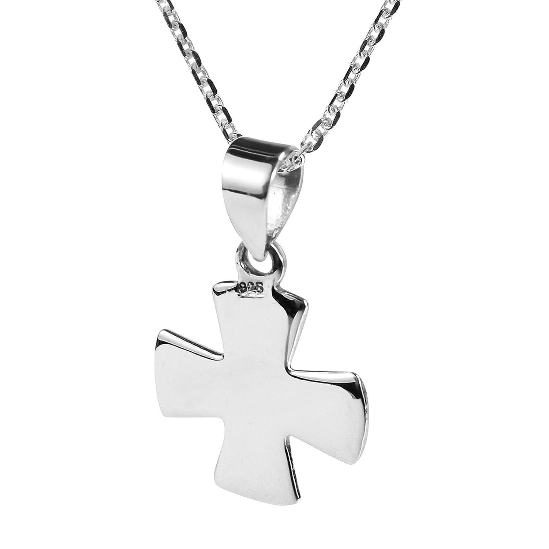 AeraVida Classic Simple Greek Cross .925 Sterling Silver Pendant Necklace