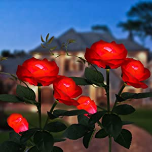 2 Pack Solar Lights for Outdoor Decorative, Fairy Garden Lightswith 3 Exquisite Roses, 5 Color Changing Solar Powered Lights for Yard Pathway, Waterproof Solar Garden Lights (Red)