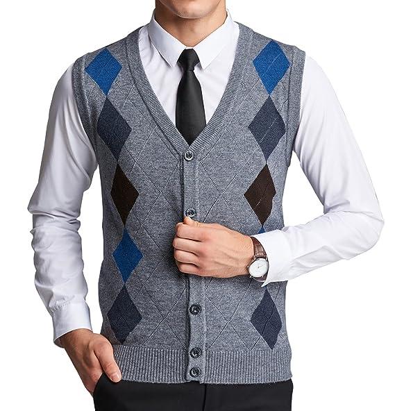 Amazon.com: weilai de los hombres Moda Argyle Diseño Solid ...