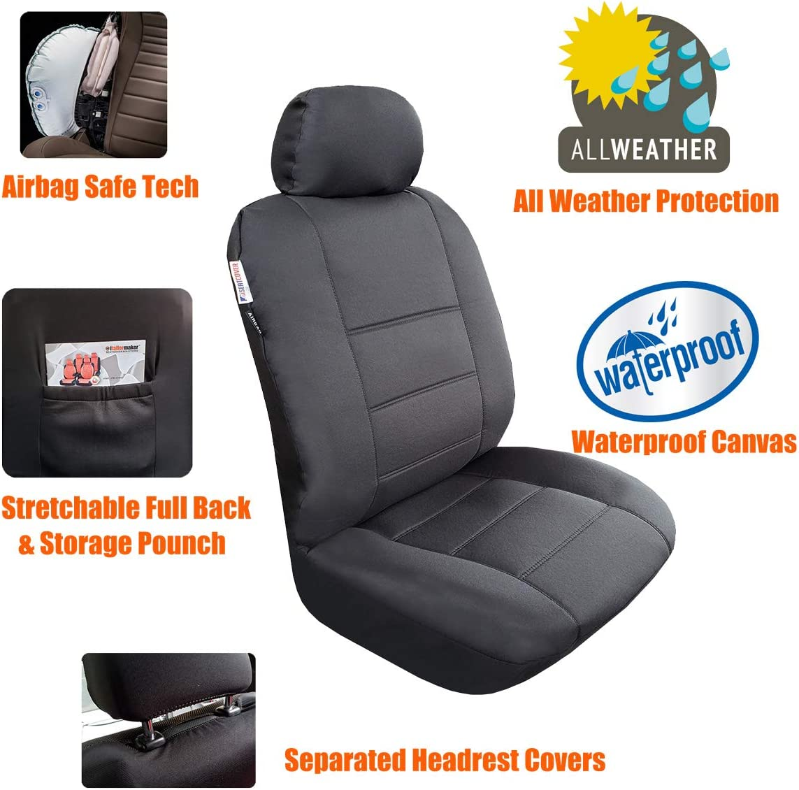 Fit Most Car Suv 2 Front Seats Black /& Grey With Headrest Covers Truck Universal Fit Canvas Auto Seat Cover With Low Back Bucket 3 Layer Waterproof Car Seat Covers Modernistic Airbag Compatible