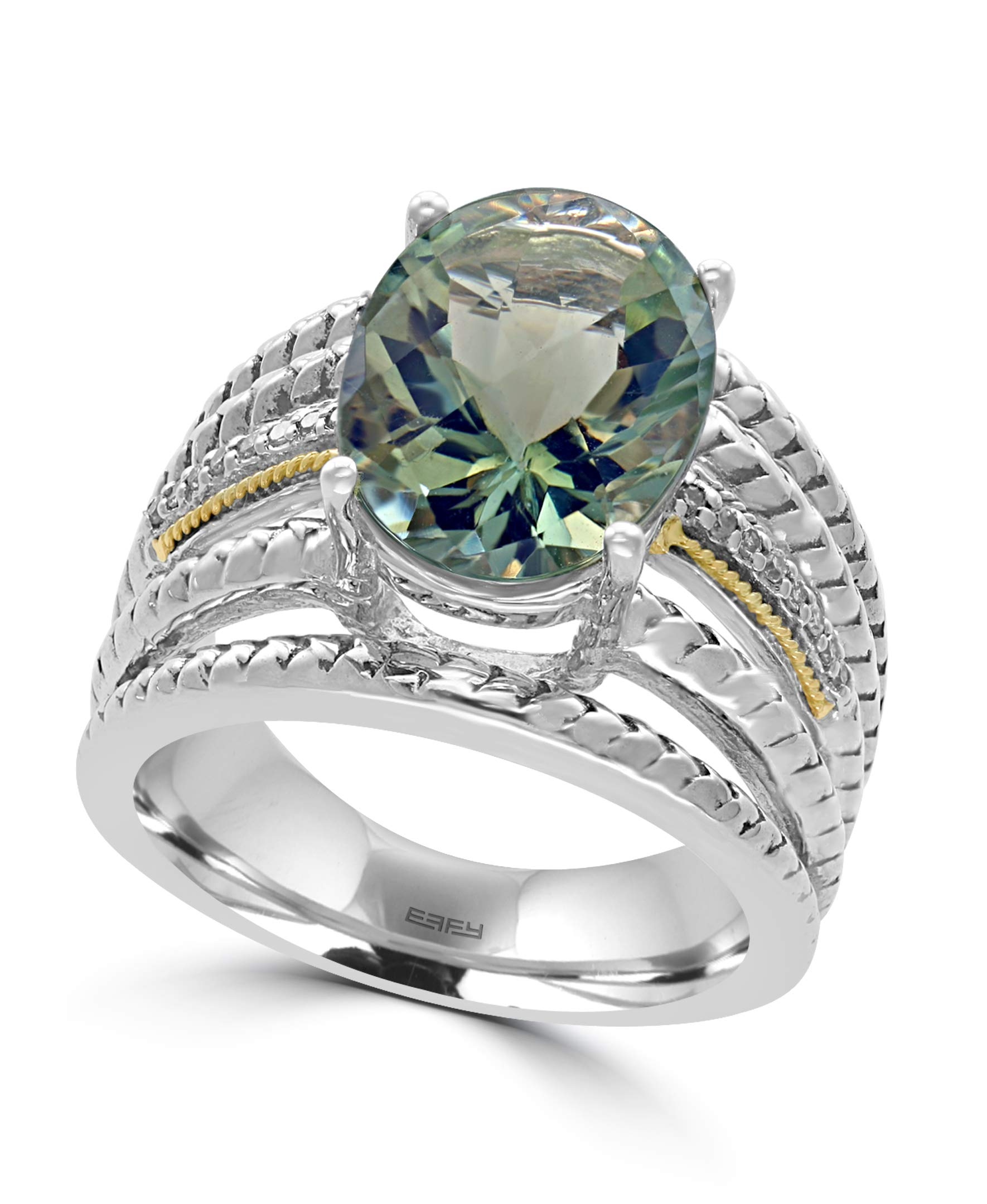 EFFY 925 STERLING SILVER/18K YELLOW GOLD DIAMOND,GREEN AMETHYST RING by EFFY