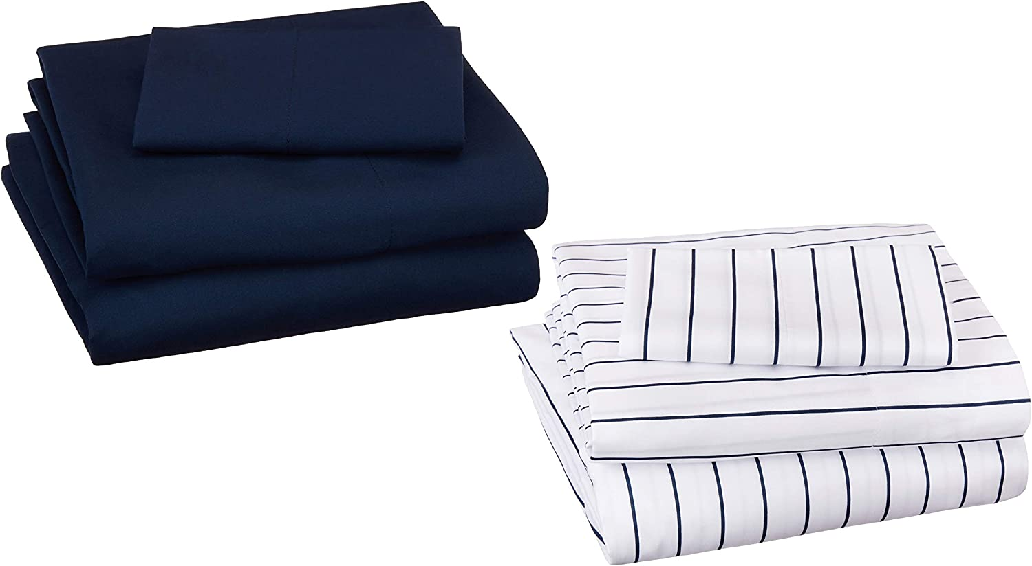 AmazonBasics Soft Microfiber Sheet Set with Elastic Pockets - Twin, Pinstripe/Navy, 2-Pack