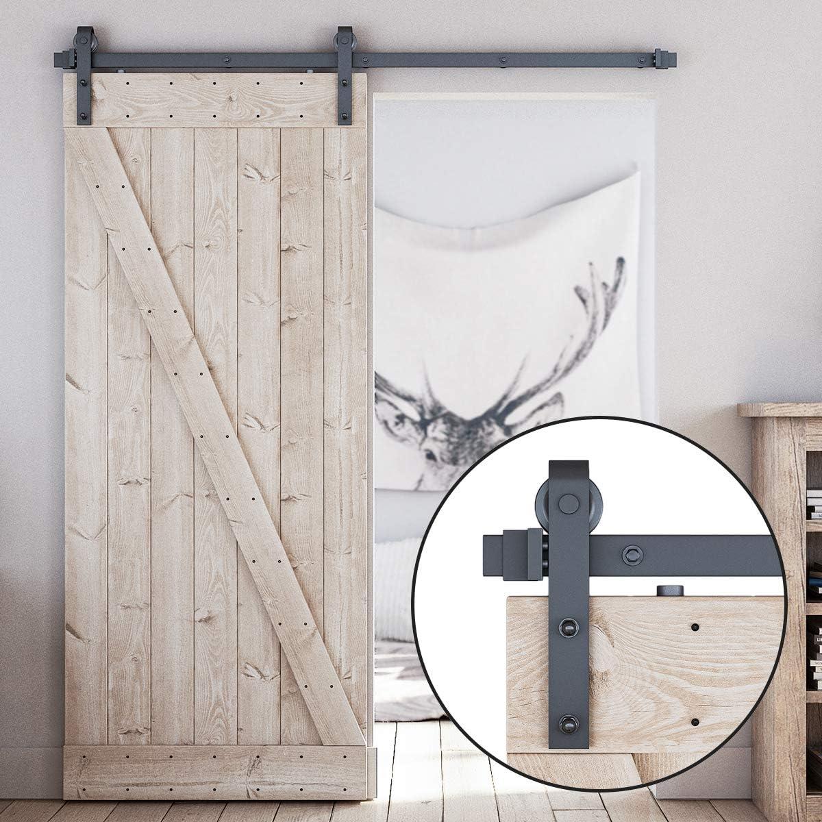 LDB_Building 6 FT Sliding Barn Door Hardware Kit, Upgraded Nylon Hanger, Easy to Install, Perfect for Kitchen, Living Room, Bathroom, Fit 1 3/8