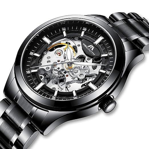 Relojes Hombre Reloj Mecánico Automático Militar Deportes Impermeable Esqueleto Lujo Diseño Relojes de Pulsera de Acero Inoxidable Negro Luminosos ...