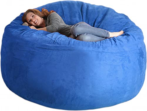 SLACKER sack 6-Feet Foam Microsuede Bean bag Chair, Large, Royal Blue