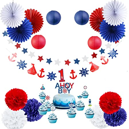 SUNBEAUTY 19Pcs Nautical Party Baby Shower Decoration Kit AHOY BOY 1st Birthday Supplies Red White