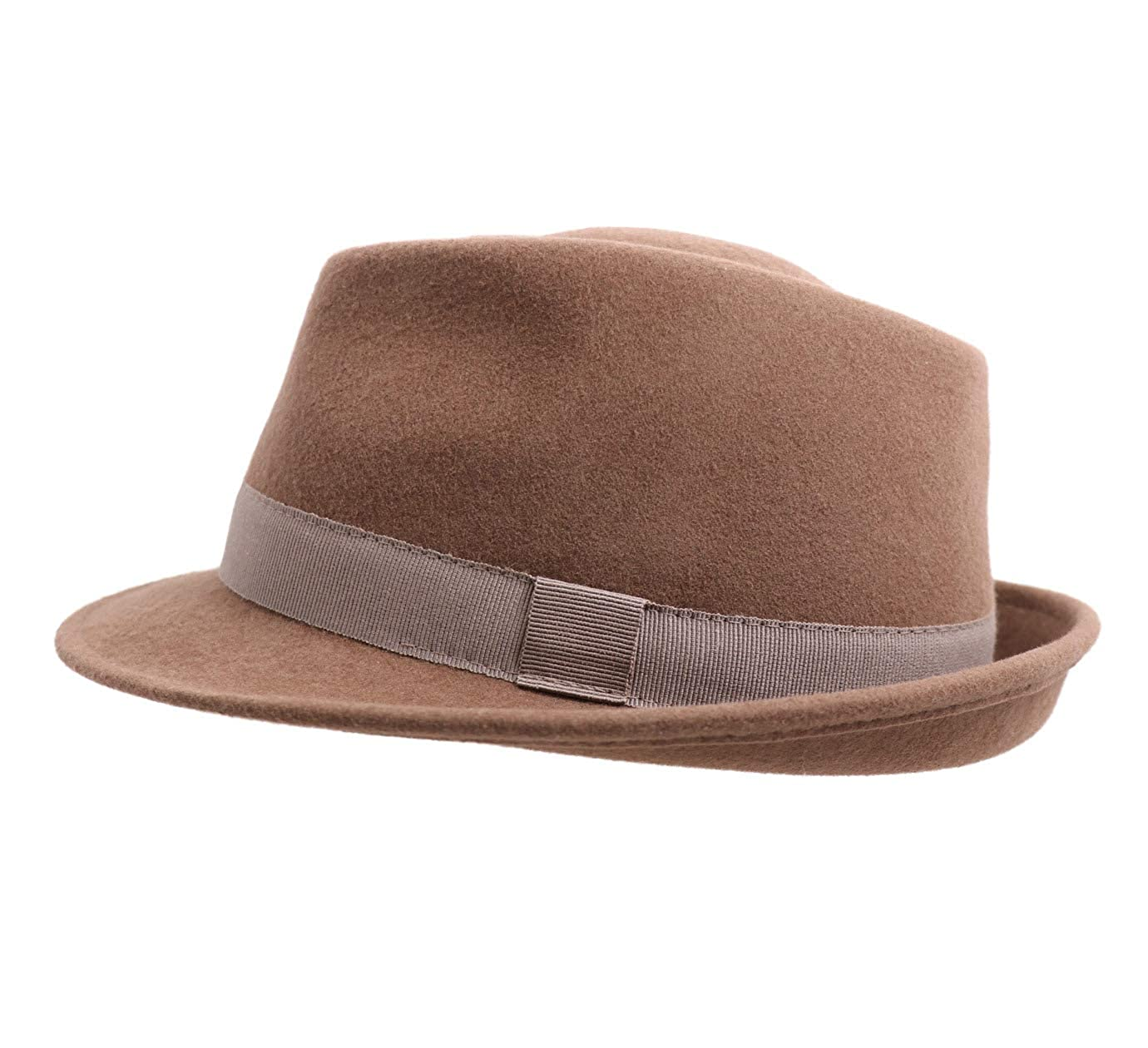 Classic Italy Trilby Wool Felt Trilby Hat Size 54 cm Brown-Clair