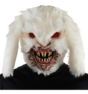 uhc menu0027s horror gruesome rabid bunny mask halloween costume accessory