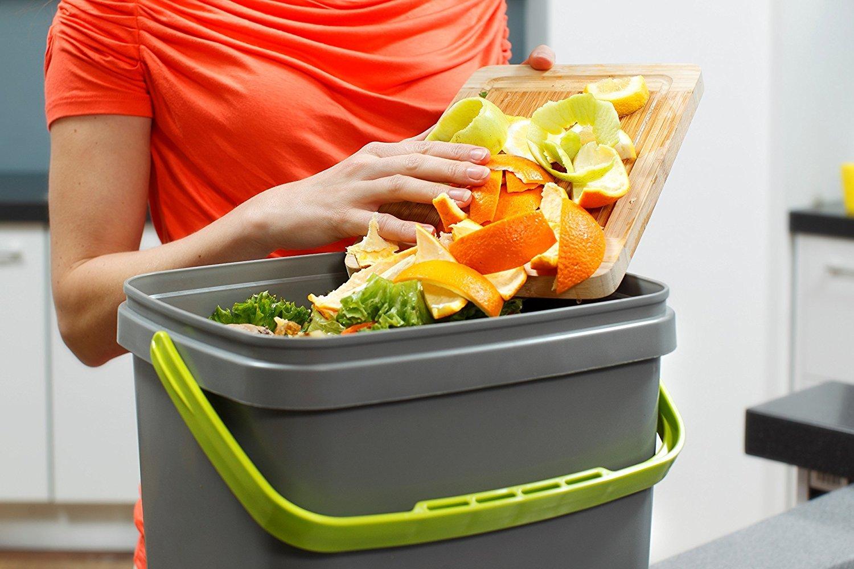 Skaza - Piensa tu Eco Bokashi Organic Kitchen composter, Gris/Lima