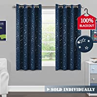 Kids Blockout Curtains Thermal Insulated Sky Blue Cloud Window Curtains- Room Darkening Soft Microfiber Blackout Eyelet Window Drapes for Girls Room, 1 Panel