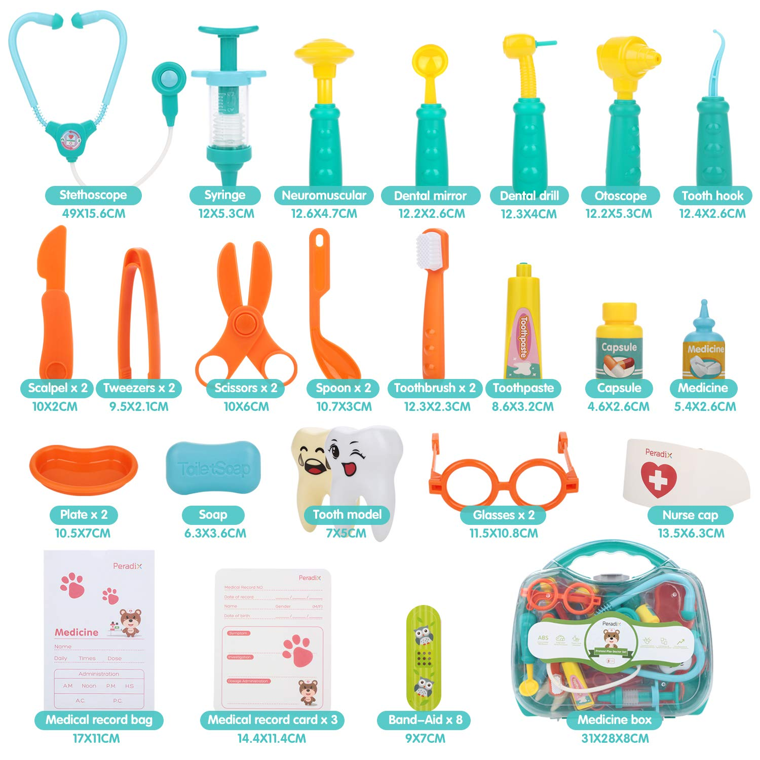 Peradix Medical Toys Doctor Kit 41 PCS for Kids Childrens With Electronic Stethoscope Pretend Doctor Nurse role playset Pack in Durable Gift CarryCase