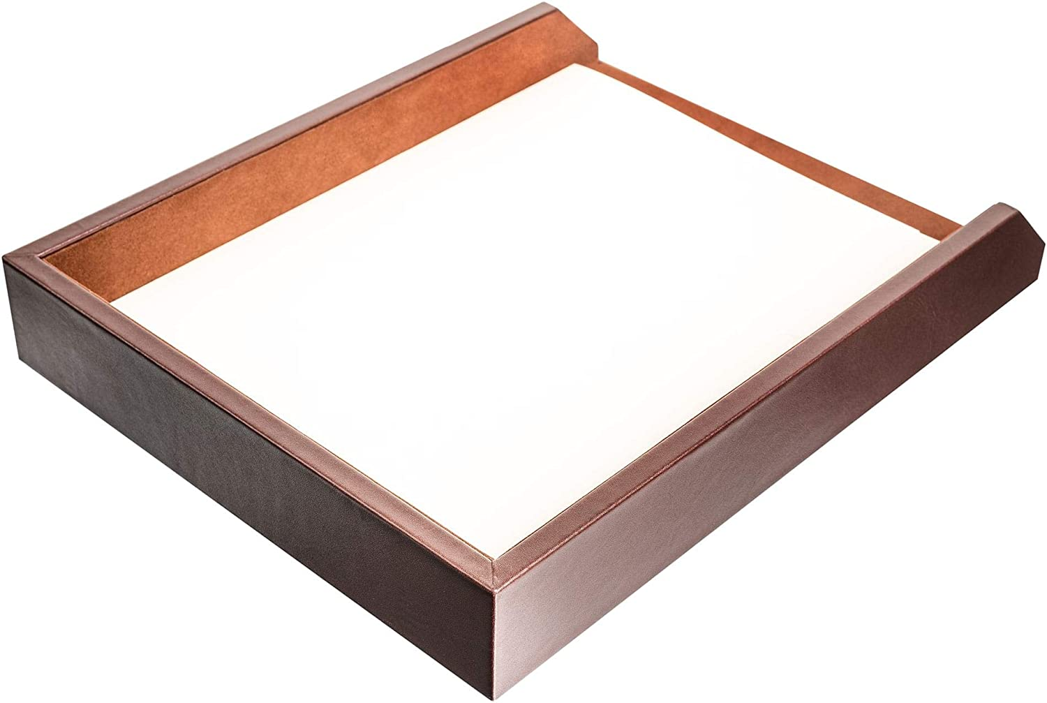 Chocolate Brown Leather Tabletop Token Tray