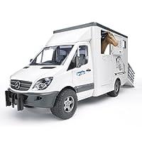 BRUDER - 02533 - Camion de transport animal MERCEDES BENZ Blanc avec un cheval