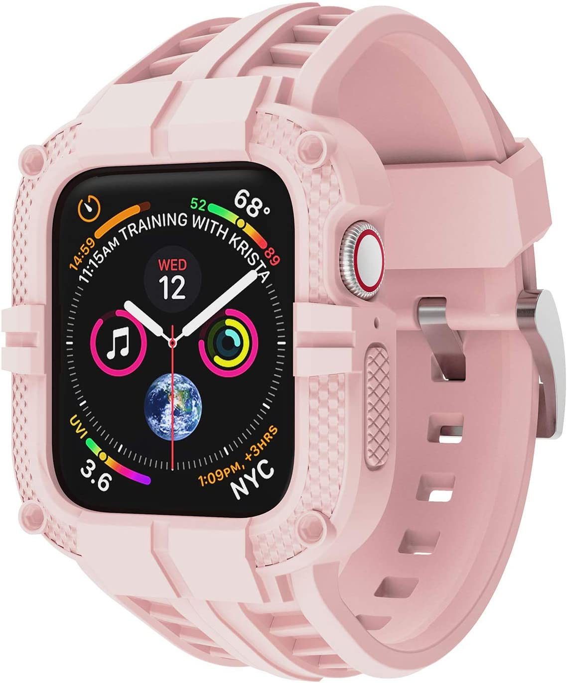 T-ENGINE Band Compatible with Apple Watch Band 44mm Series 4 Series 6/5/SE, TPU Rugged Sports Band with Full Protection Case for Men/Women, Only for 44mm Pink