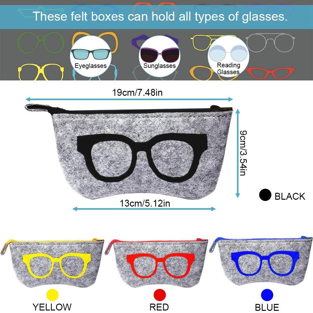 EMAGEREN 4pcs Fundas de Gafas Port/átiles Bolsa para Gafas Estuche de Gafas de Sol Estuche de Gafas de Fielto Funda para Gafas con Cinturon Bolsa de Almacenamiento 4 Color de Dibujo