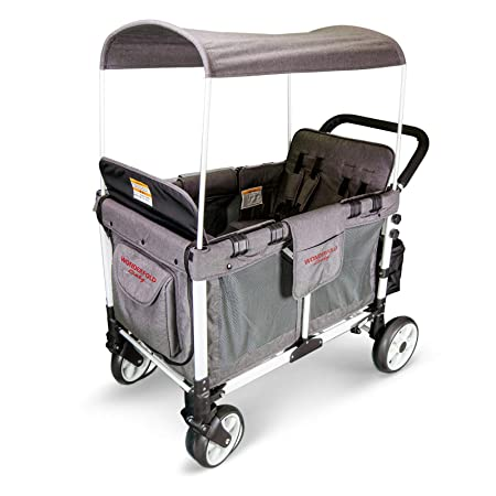 WonderFold Baby Multi-Function Four Passenger Wagon Folding Quad Stroller with Removable Reversible Canopy Seats up to 4 Toddlers Gray