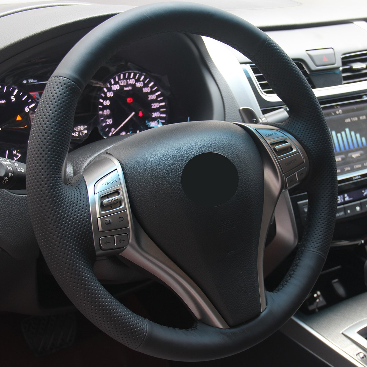 Hand Sewing Black Genuine Leather Steering Wheel Cover for 2013 2014 2015 2016 Nissan Altima 2014 2015 2016 Nissan Rogue Loncky Xuji-0163