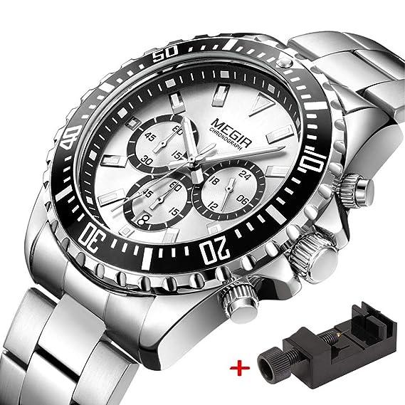 Megir - Reloj de Pulsera para Hombre, Correa de Acero Inoxidable con cronógrafo, Cuarzo, analógico, Blanco Luminoso, Resistente al Agua, 30 m: Amazon.es: ...